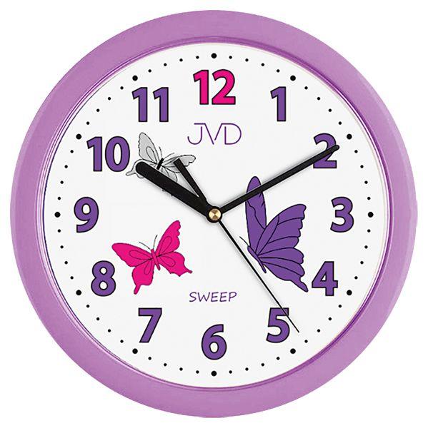 Fialkové dětské nástěnné hodiny JVD H12.1 s motýlkama