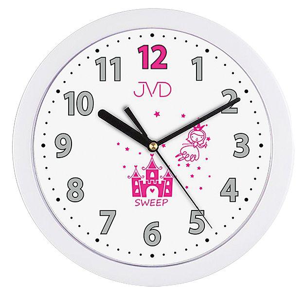 Růžovo bílé dětské nástěnné hodiny JVD H12.4 s růžovou vílou