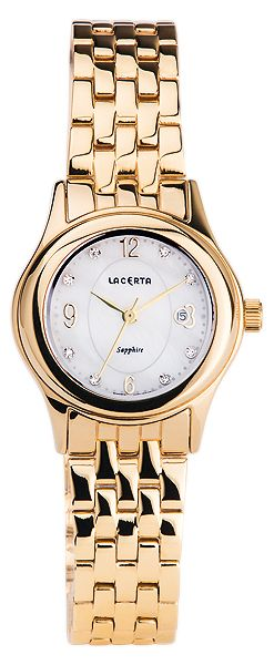 Značkové švýcarské dámské hodinky Lacerta LC404 s nepoškrabatelným sklem