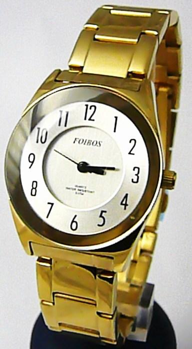 Dámské ocelové zlaté voděodolné kovové hodinky Foibos 23121 - 5ATM