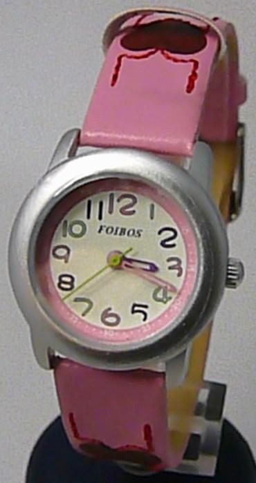 Srdíčkové dívčí dětské růžové hodinky Foibos 1619.5