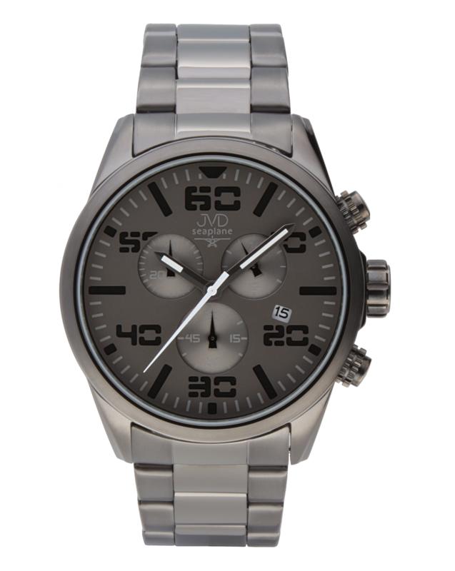 Pánské vodotěsné ocelové chronografy hodinky JVD seaplane JC647.2