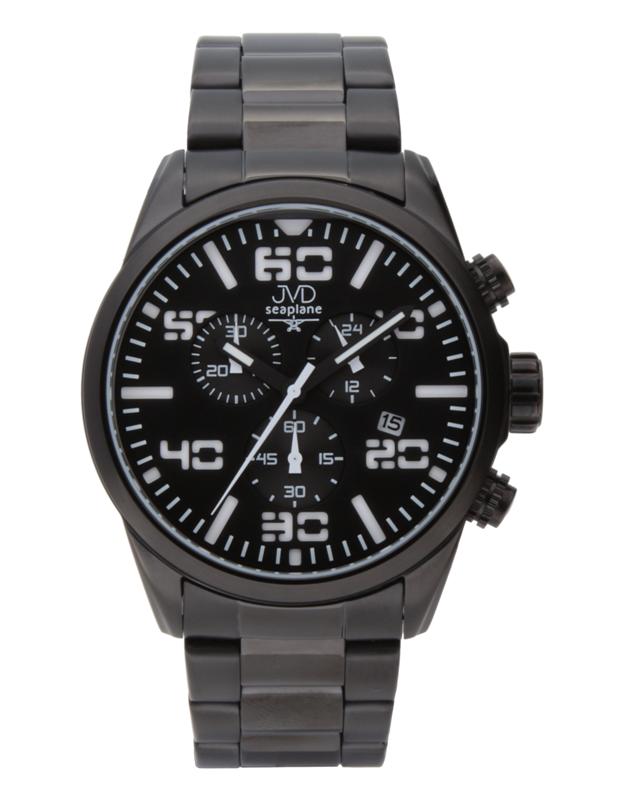 Pánské vodotěsné ocelové chronografy hodinky JVD seaplane JC647.3
