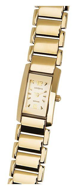 Celonerezové dámské společenské zlaté hodinky LACERTA 762H7586