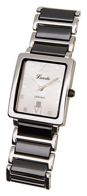 Celonerezové dámské keramické černobílé hodinky LACERTA 775484K2 (POŠTOVNÉ ZDARMA!!!)