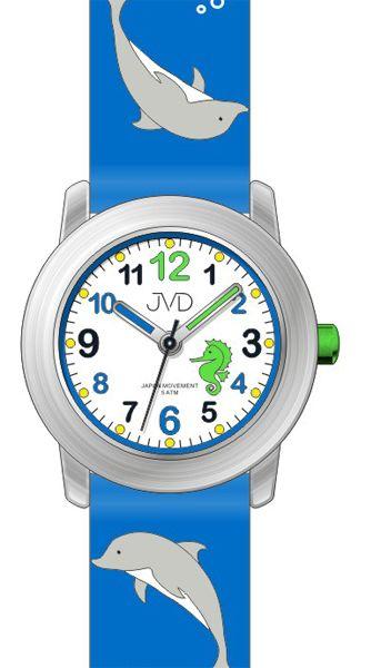 Dětské modré hodinky JVD J7159.1 s motivem DELFÍNKA pro kluky a holky - 5ATM