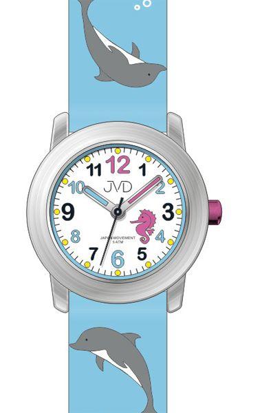 Dětské modré hodinky JVD J7159.2 s motivem DELFÍNKA pro kluky a holky - 5ATM