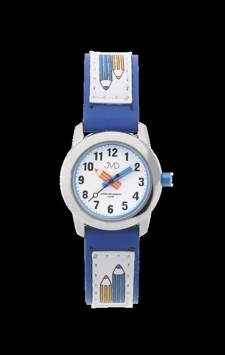 Dětské modré čitelné hodinky JVD basic J7109.2 s barevnými pastelkami