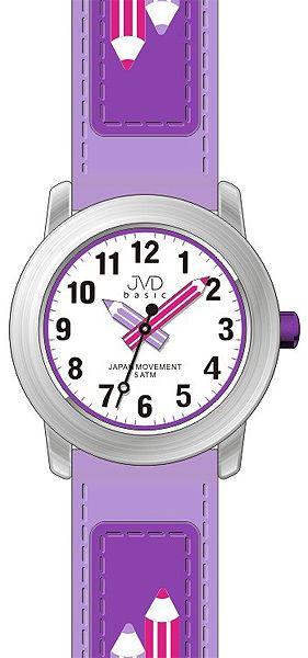 Dětské fialkové čitelné hodinky JVD basic J7109.4 s barevnými pastelkami