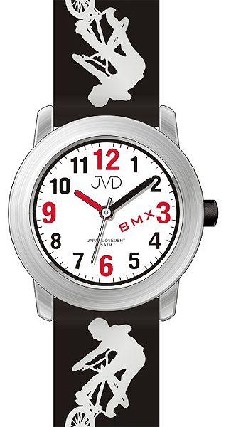 Dětské chlapecké hodinky JVD J7158.1 s BMX kolem pro malé závodníky 5ATM