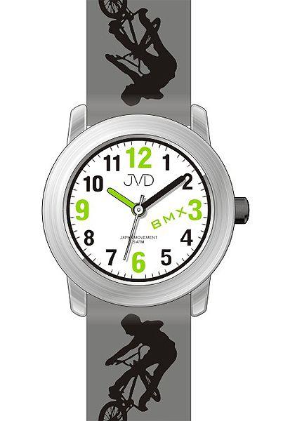 Dětské chlapecké hodinky JVD J7158.2 s BMX kolem pro malé závodníky 5ATM