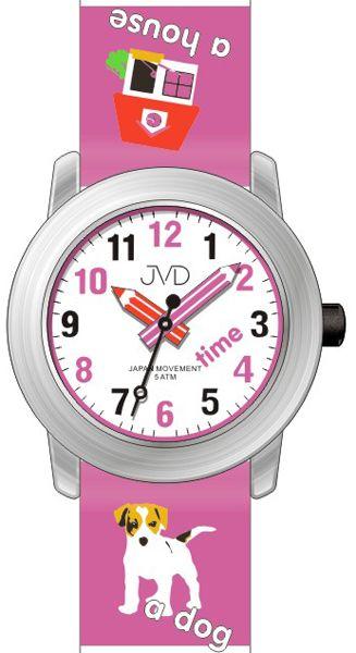 Dětské hodinky JVD J7163.4 s pejskem a malým tahákem angličtiny pro malé školáky