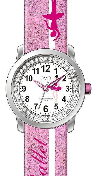 Dívčí dětské růžové hodinky JVD J7166.3 s baletkou na řemínku - 5ATM ... eaf428ae192