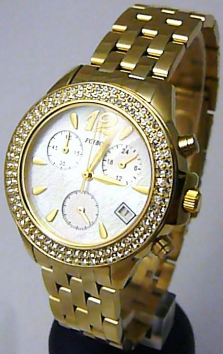 Luxusní zlaté dámské chronografy poseté zirkony - hodinky Foibos 1361 5ATM
