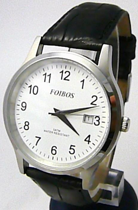 Pánské elegantní stříbrné čitelné velké hodinky Foibos 3882 5ATM
