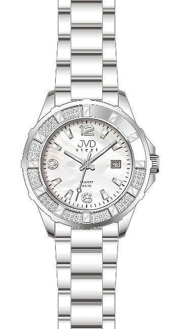 Luxusní dámské ocelové hodinky JVD steel J1033.3 s bílým číselníkem