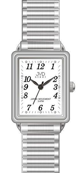 Elegantní hranaté ocelové hodinky JVD steel J4072.1 - unisex s pérovacím páskem