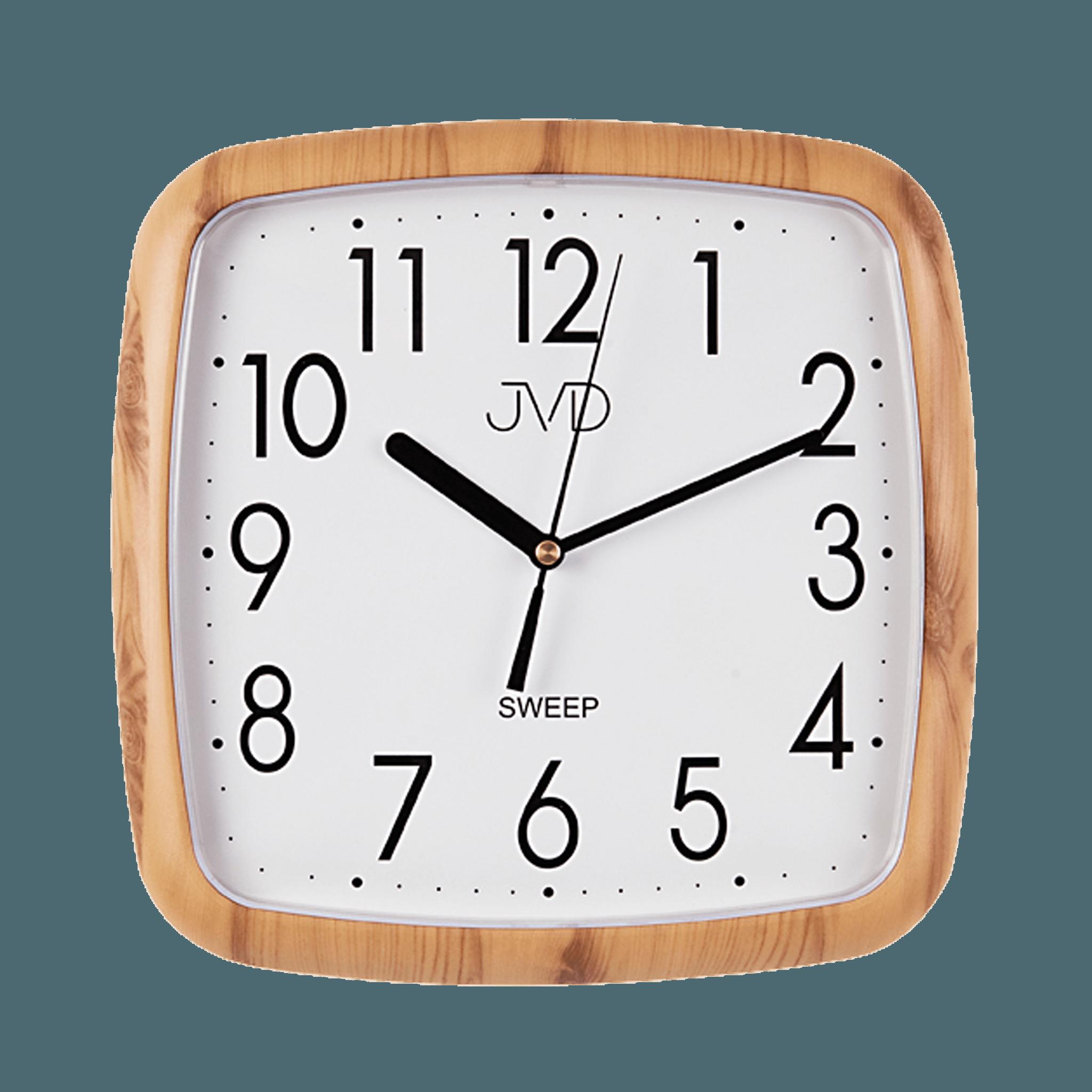 Hranaté nástěnné hodiny JVD quartz H615.3 imitace dřeva - světlé (sweep - plynulý chod - netikající hodiny)