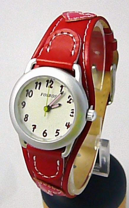 Červené dívčí dětské hodinky Foibos 1575.2 se srdíčkovým páskem
