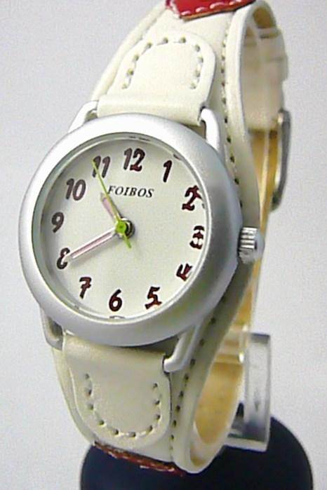 Bílo červené dívčí dětské hodinky Foibos 1575.1 se srdíčkovým páskem