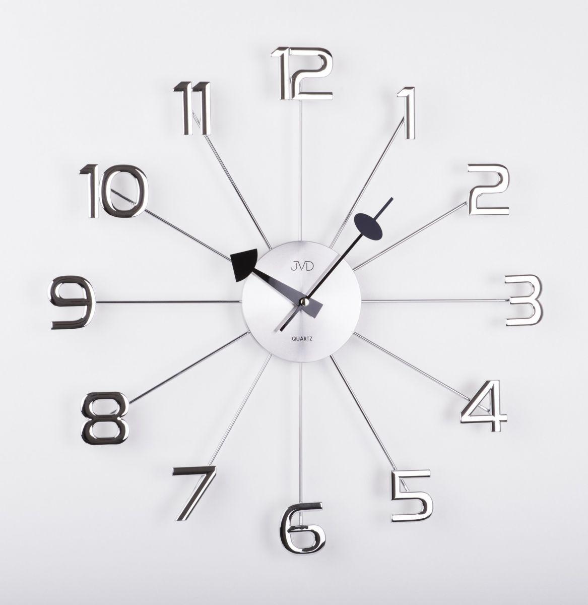 Luxusní paprskovité kovové nástěnné stříbrné hodiny JVD HT072 s číslicemi