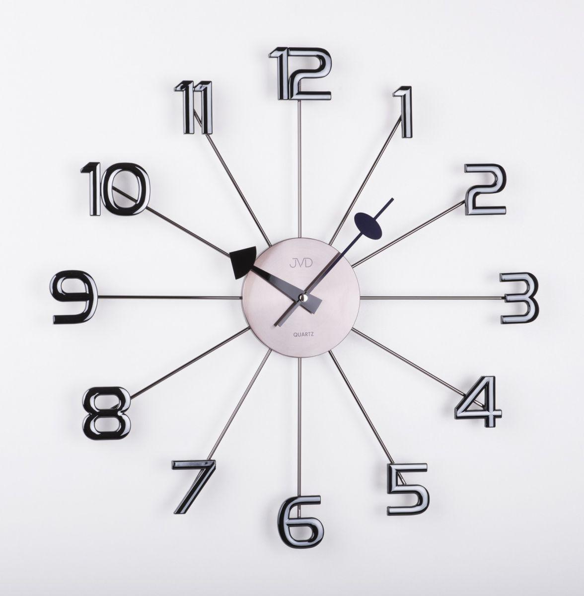 Luxusní paprskovité černé antracitové hodiny JVD HT072.1 s číslicemi (POŠTOVNÉ ZDARMA!!)