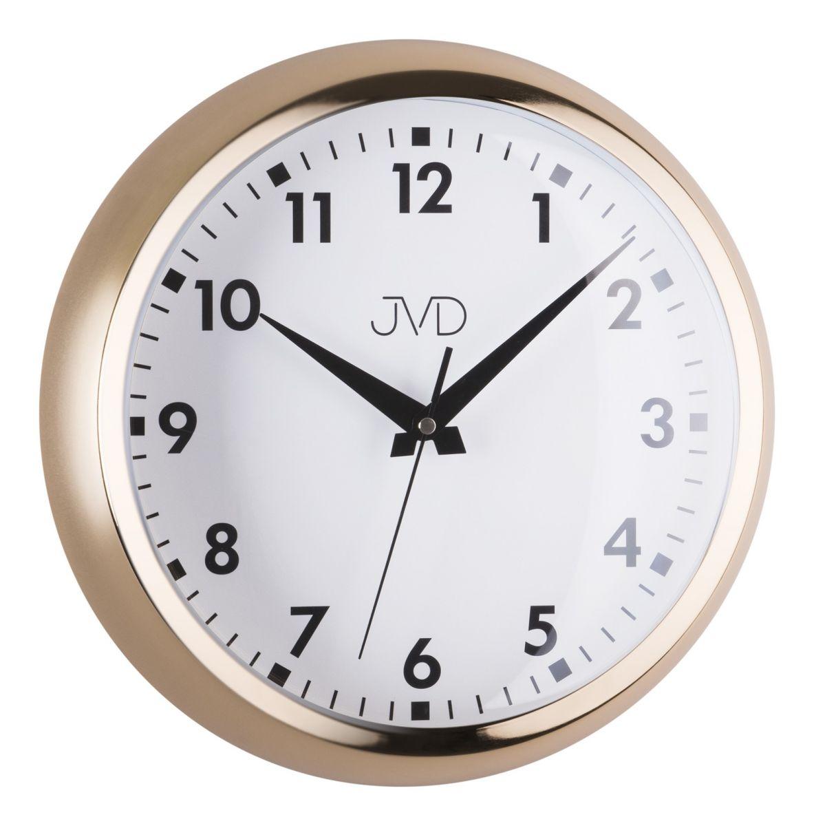 Designové chromové kovové hodiny JVD HT077.2 (barva žlutého zlata)