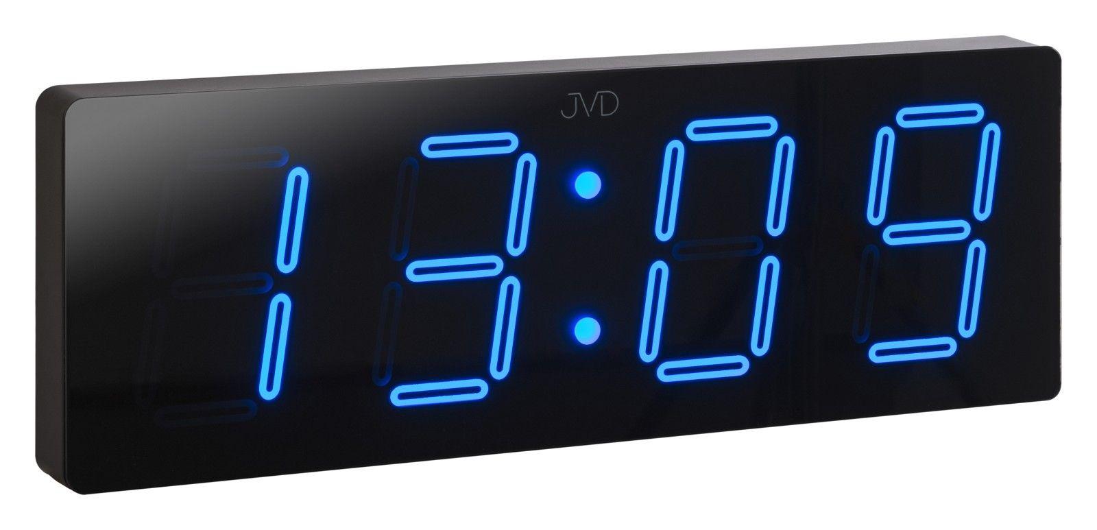 Velké svítící digitální moderní hodiny JVD DH1.2 s modrými číslicemi