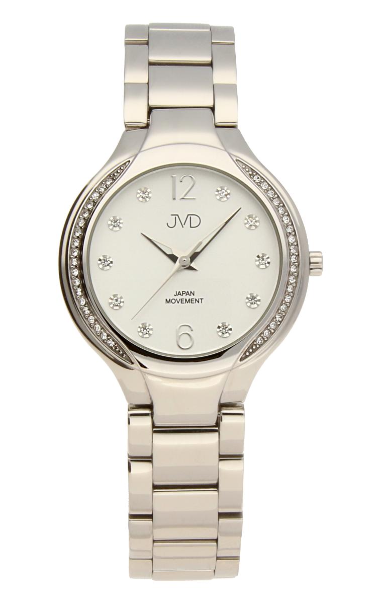 Šperkové perleťové nerezové dámské hodinky JVD JC068.1 - 5ATM s krystalky