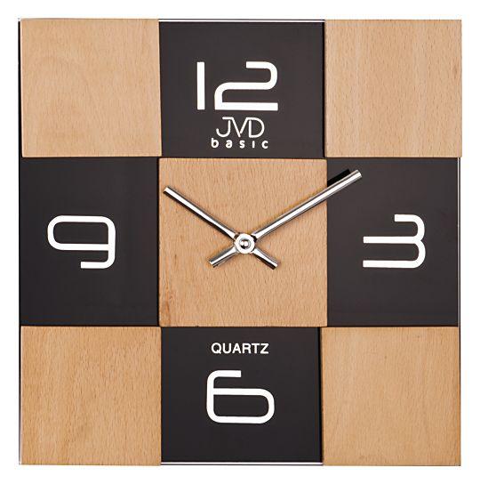 Skleněné dřevěné nástěnné hodiny JVD basic N29081.3