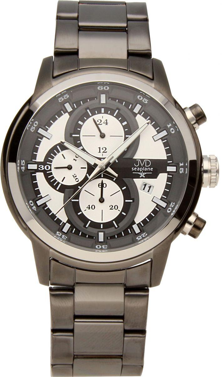 Vysoce odolné černé vodotěsné chronografy hodinky JVD seaplane JC667.3 10ATM
