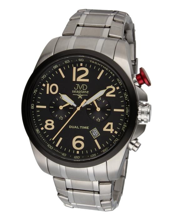 Pánské ocelové vodotěsné hodinky JVD W88.2 Seaplane Dual Time dva světové ?asy