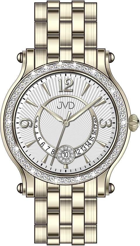 Dámské voděodolné šperkové elegantní luxusní hodinky JVD W87.2 s kamínky