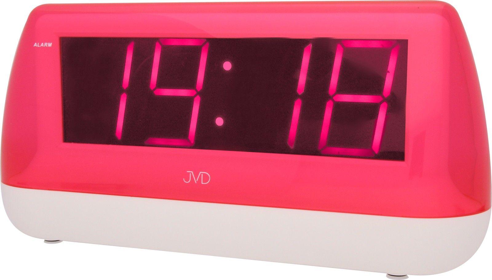 Svítící velký digitální budík JVD SB1823.1 s růžovými číslicemi do el. sítě