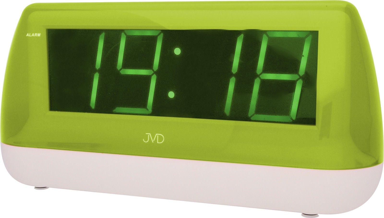 Svítící velký digitální budík JVD SB1823.2 se zelenými číslicemi do el. sítě