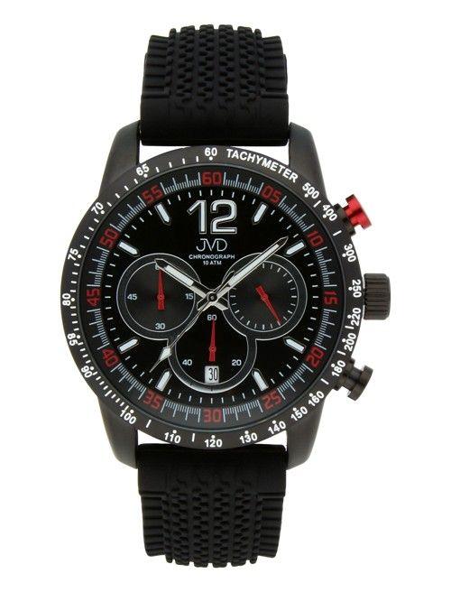 Pánské černé vodotěsné sportovní hodinky JVD chronograph J1102.1 - 10ATM
