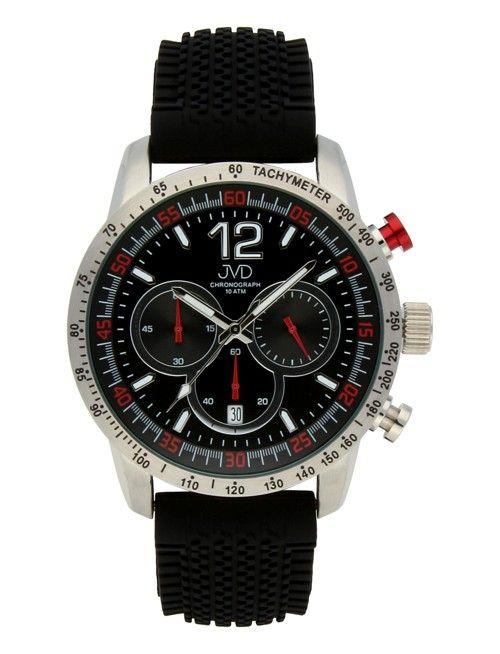 Pánské černé vodotěsné sportovní hodinky JVD chronograph J1102.2 - 10ATM