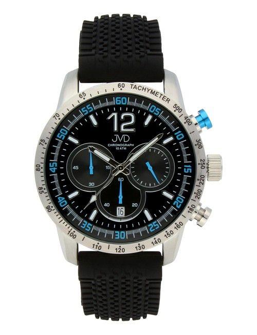 Pánské černé vodotěsné sportovní hodinky JVD chronograph J1102.3 - 10ATM