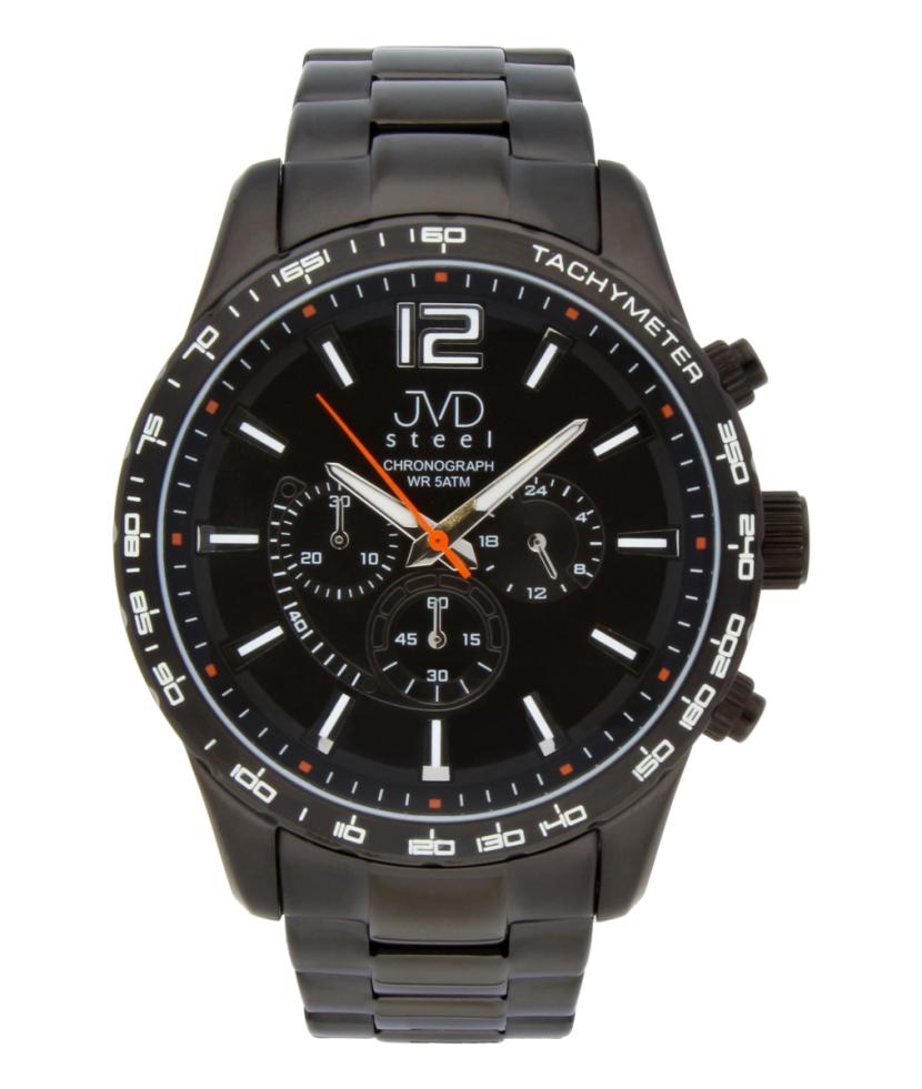 Vysoce odolné černé voděodolné hodinky s chronografem JA605.2