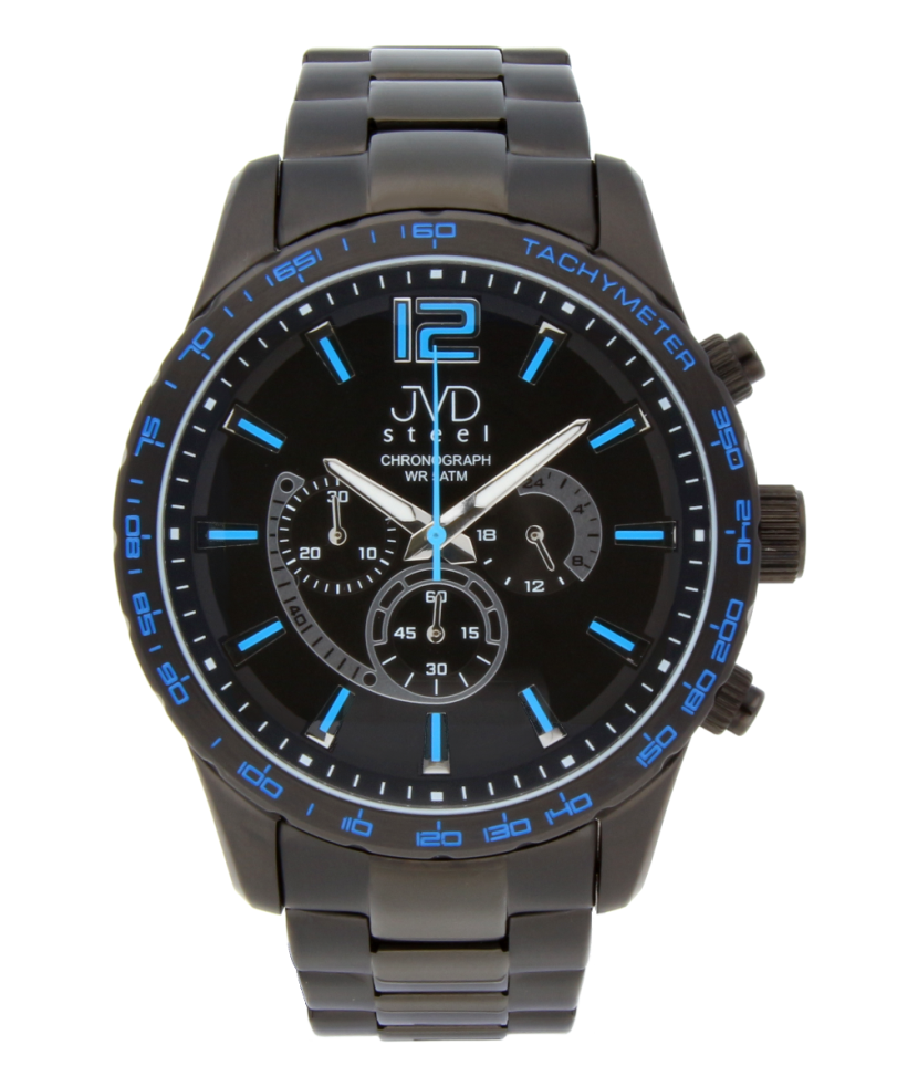 Vysoce odolné černé voděodolné hodinky s chronografem JA605.3