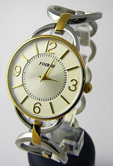 7bb6f021c45 Dámské ocelové stříbrné čitelné přehledné hodinky Foibos 45802 - bicolor