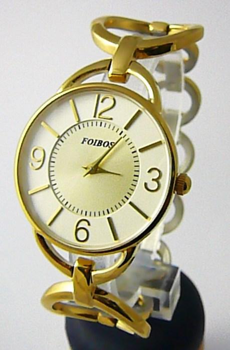 Dámské ocelové zlacené čitelné přehledné hodinky Foibos 45801 - pozlacené