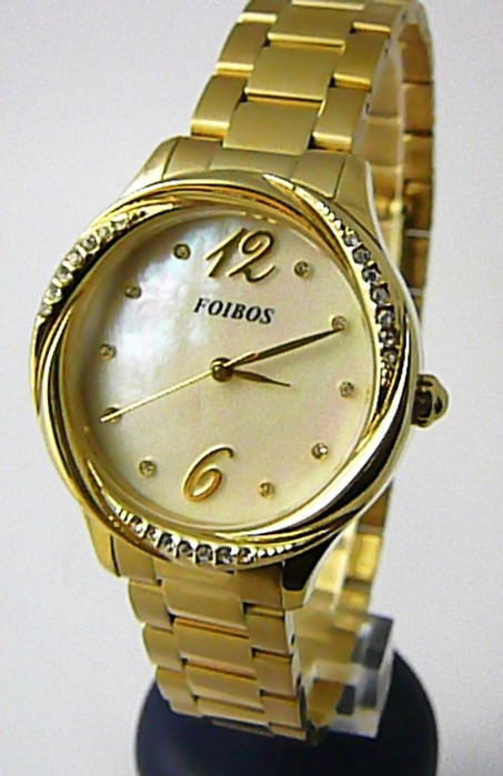 Dámské šperkové zlacené luxusní hodinky Foibos 3B722 s bílým perleťovým čísel. hodinky Foibos 3B722