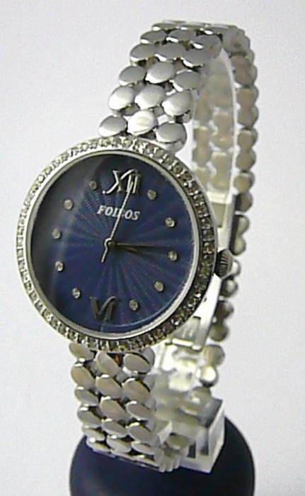 Dámské šperkové ocelové hodinky Foibos 3a39 s modro-fialovým číselníkem a zirkon
