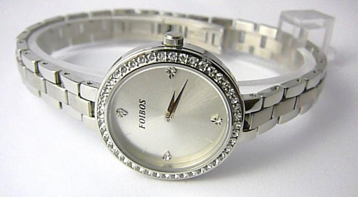 Dámské šperkové ocelové hodinky Foibos 3B51 s perleťovým číselníkem a zirkony