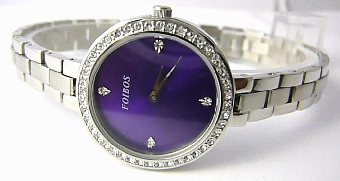 Dámské šperkové ocelové hodinky Foibos 3B511 s fialovým číselníkem a zirkony
