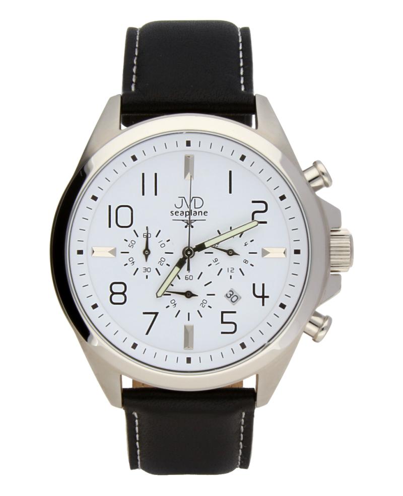 Pánské potápěčské ocelové hodinky JVD Seaplane JS01 - chronograf na kůži