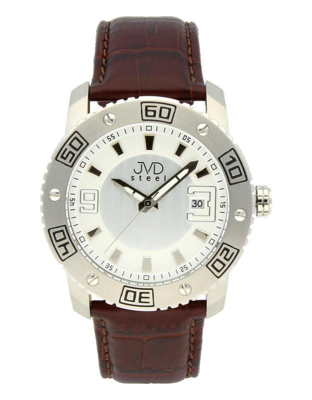 Luxusní pánské vodotěsné ocelové hodinky JVD C1122.1 na koženém pásku