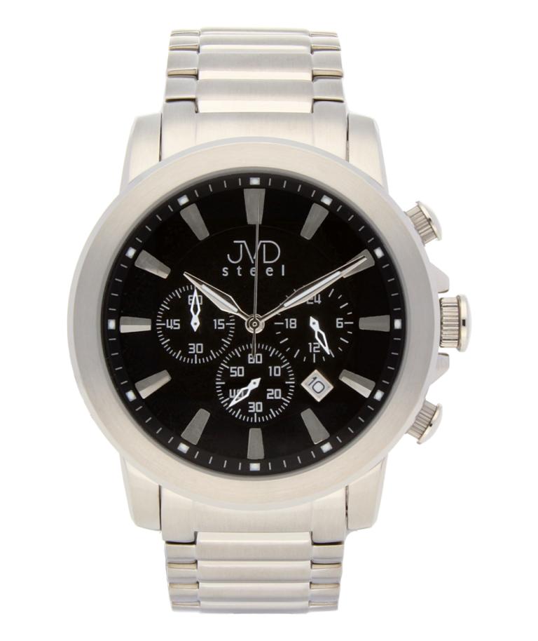 Mohutné ocelové moderní vodotěsné hodinky JVD C725.1 - chronograf 10ATM