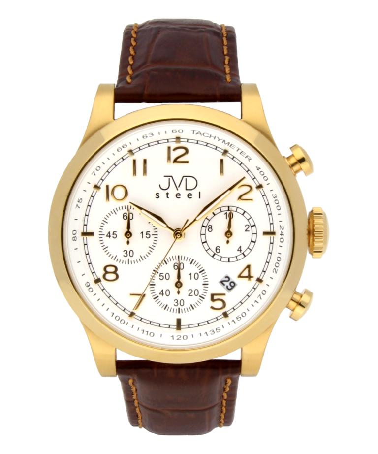 Luxusní vodotěsné pánské retro hodinky s chronografem JVD C1199.3